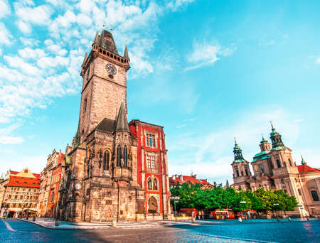fascinating magical beautiful landscape on the central square of Prague, Czech Republic with clock tower. amazing places. popular tourist atraction Stok Fotoğraf