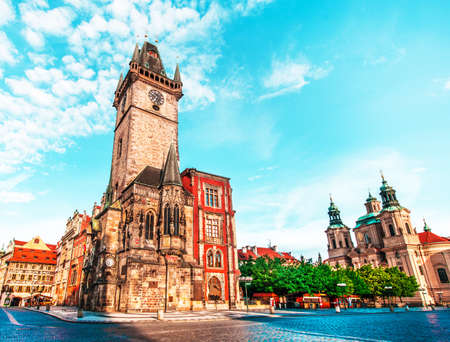 fascinating magical beautiful landscape on the central square of Prague, Czech Republic with clock tower. amazing places. popular tourist atraction 写真素材