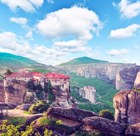 Eastern Orthodox Monastery of Varlaam in holy complex in the famous valley of the Meteora rocks in Greece. Great amazing world. Attractions.