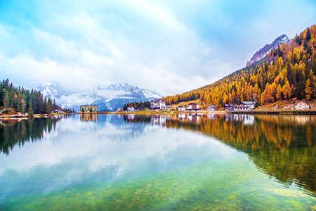 Dramatic magical beautiful autumn landscape with hotel near Lake Misurina in the Dolomites. National park Tre Cime di Lavaredo. Exotic amazing places. panorama Stockfoto