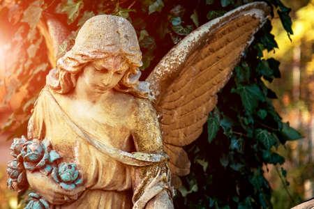 Image positive et affirmée avec une figure d'ange au soleil. Un symbole d'espoir, de réconfort, de compassion et d'aide psychologique. Banque d'images