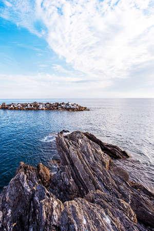Beautiful magic landscape with stones among sea