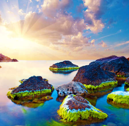 magical beautiful inspiring, picturesque landscape with the sunrise at sea and stones in bright moss. Charming places. Standard-Bild