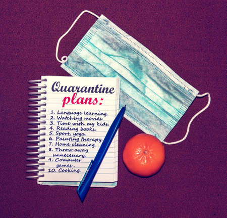 An abstract image of a medical mask and a notebook with plans for what to do while a coronavirus quarantin