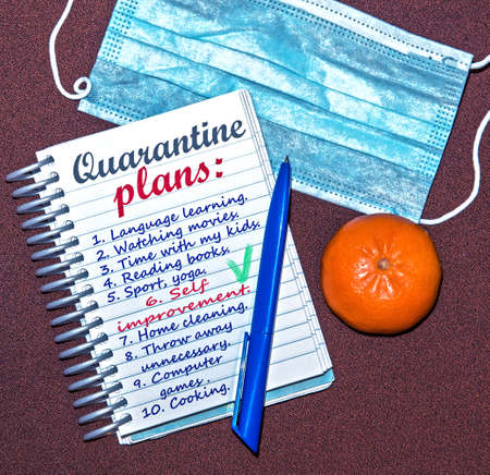 abstract image of a notebook with plans for what to do while a coronavirus quarantin (self improvement, lifestyle, harmony, do not panic – concept)