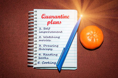An abstract image of a notebook with plans for what to do while a coronavirus quarantin Standard-Bild