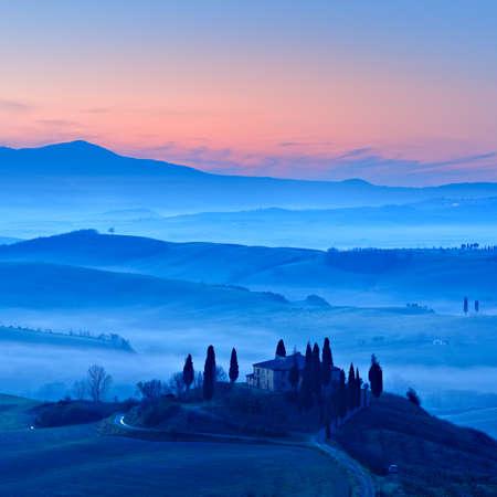 Tuscany at Sunrise, Morning Fog, Val dOrcia, Tuscany, Italy