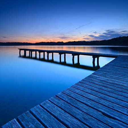 Lake after Sunset, Wooden Pier