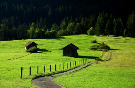 Small Wooden Cabins on Seasonal Mountain Pasture in the Alps, Bavaria, Germany