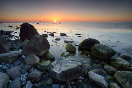 Coastal Sunrise, Huge Boulders in the Baltic Sea, Jasmund National Park, Rugen Island, Germany
