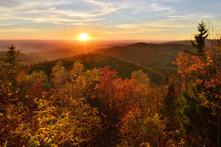 View over forest covered hills in autumn at sunset