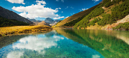 Turquoise Mountain Lake in the Swiss Alps, Albula Valley, Canton of Grisons, Switzerland