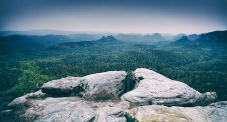 Little Winterberg View, Rocks and Forests, Saxon Switzerland National Park, Germany Stock Photo