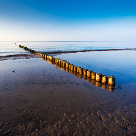 Beach with Wooden Groyne in the Warm Light of the sun setting, Darss peninsula, Germany Stock fotó