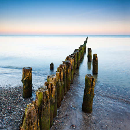 Beach with Old Wooden Groyne before sunrise, Darss peninsula, Germany