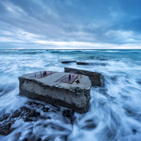 Old Bunkers in the Stormy Sea