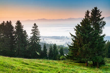 Idyllic Bavarian Landscape at sunrise, View from Mt. Auerberg, Valley full of fog, the Alps behind