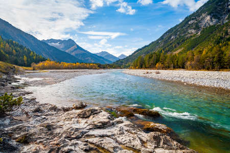 The Lech River flowing through the Alps in Autumn, Tyrol, Austria Stock fotó