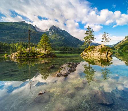 Iconic View of Lake Hintersee, Berchtesgaden National Park, Ramsau, Bavaria, Germany Banco de Imagens