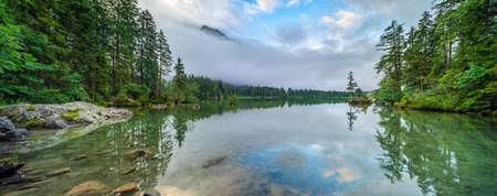 Rain clouds over Lake Hintersee, Berchtesgaden national park, Ramsau, Bavaria, Germany