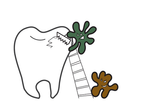 microorganisms: tooth and micro-organisms of dental caries with a saw