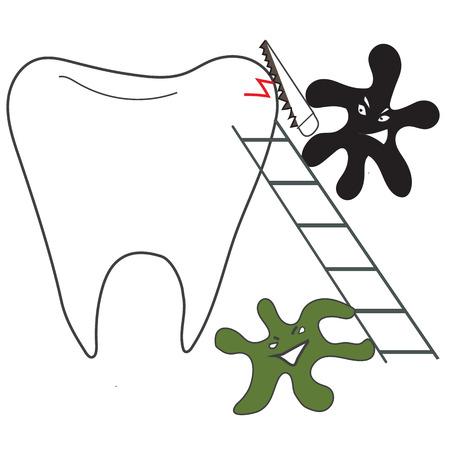 caries dental: los dientes y los microorganismos de la caries dental con una sierra Vectores