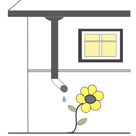 drain: Flower and drain pipe home Illustration