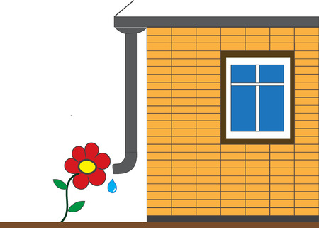 drainage: Flower and drain pipe home. Illustration