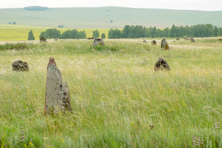 gravestone: Ancient gravestone in the steppe of southern Siberia.
