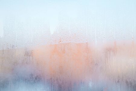 The background texture and drops of moisture on the surface of the glass Stock Photo