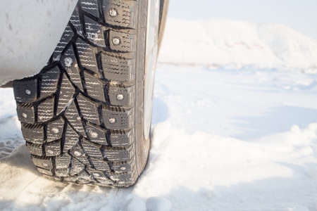 space weather tire: winter studded tire on the snow