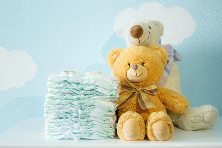 Toys bears and diapers