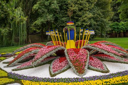 cossacks: Exhibition of floral arrangements on national themes of unity of Ukraine Stock Photo