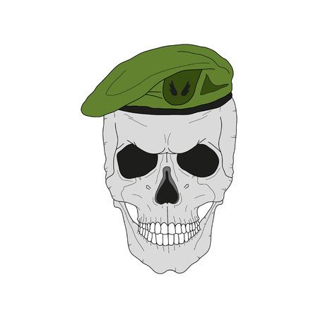 Cráneo en una boina verde Ilustración vectorial. Foto de archivo - 93619777