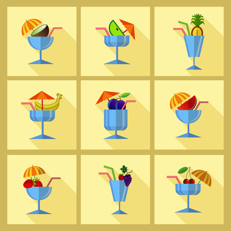 Set with cocktail icons. Flat style with long shadow.