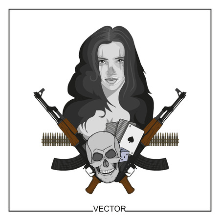 Illustration of a beautiful woman with guns, cards and skull in monochrome illustration. Illustration