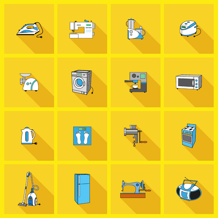 Set with household appliances icons. Flat style with long shadow