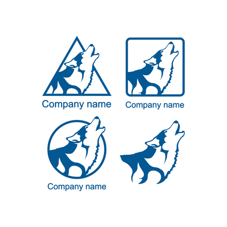 Set of logos with a wolf head vector illustration graphic design