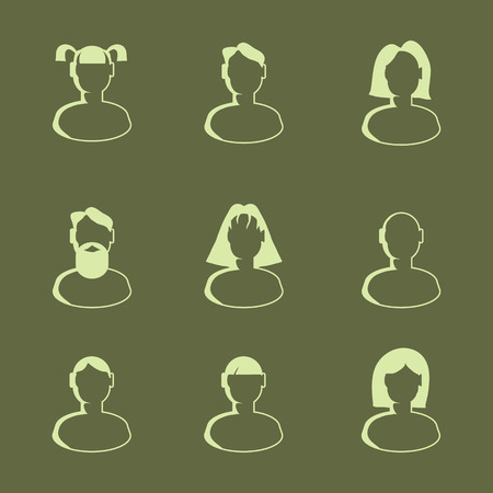 Set with bust icons. Flat style