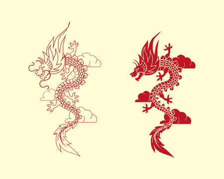 red dragon symbol illustration.