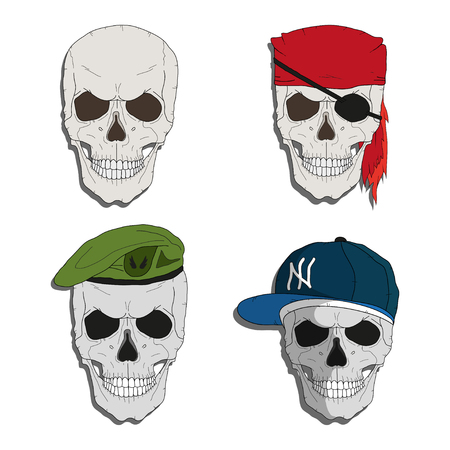 Pirate skull. Skull in a green beret. Skull in a rapper style