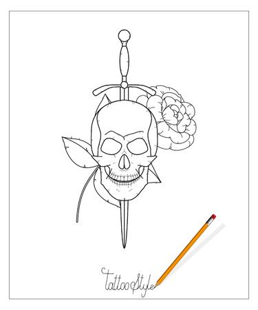tattoo skull with sword. Illustration