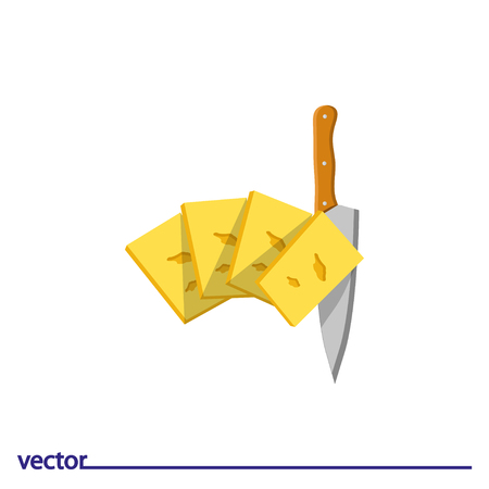 Icon of cheese and knife. Isolated on white background. Modern vector illustration for web and mobile.