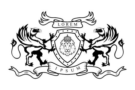 Heraldry griffin logo vector illustration.