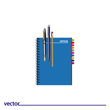 Icon of pencil, notebook, ink and ballpoint pen. Isolated on white background. Modern vector illustration for web and mobile. Illustration