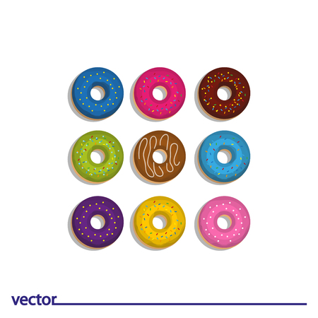 Icon of glazed donuts. Isolated on white background. Modern vector illustration for web and mobile.