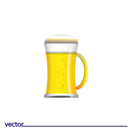 Icon of glass of beer. Isolated on white background. Modern vector illustration for web and mobile. Illustration