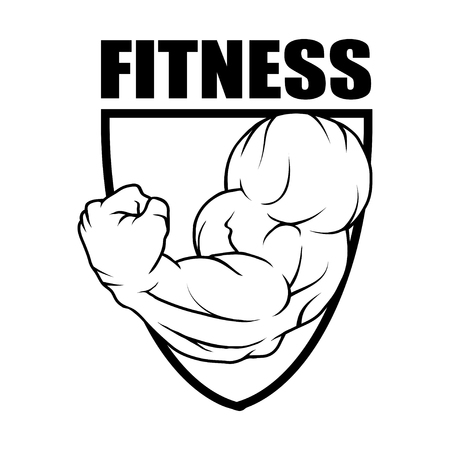 Fitness center Gym emblem design template.