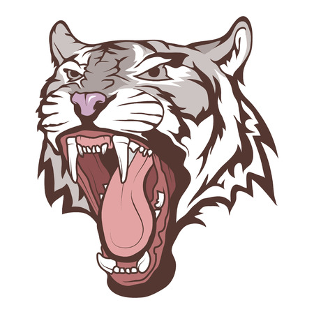 white Bengal tiger illustration.