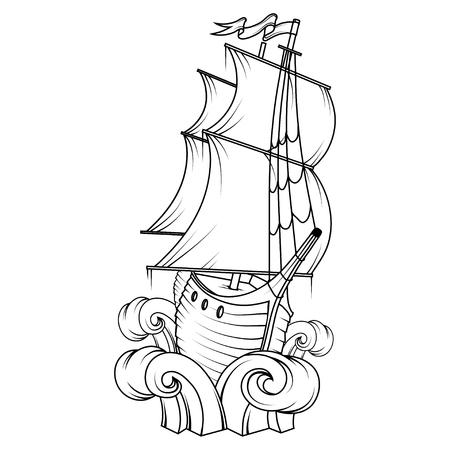 Retro Cargo Ship Sailing ship. Sea company design template Illustration